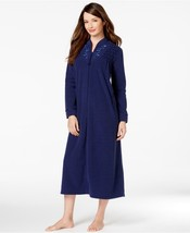 NEW Miss Elaine Brushed Back Terry Zip Front Long Robe 866005 Jade Navy Red - ₨2,985.33 INR