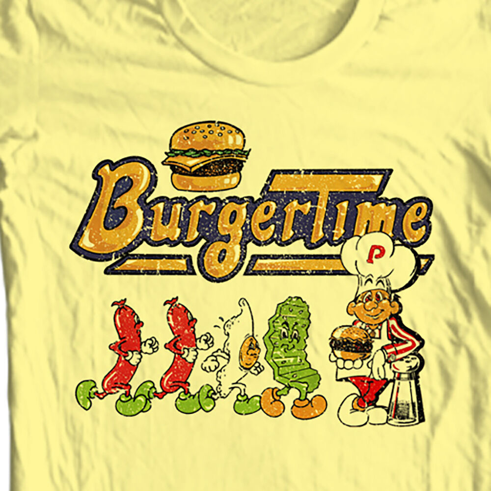 Burger Time T-shirt retro 80s arcade video game vintage 100% cotton graphic tee