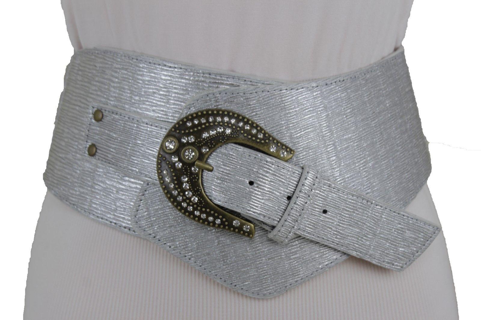 Damen Silber Kunstleder Breit West Modischer Gürtel Groß Perlen Schnalle