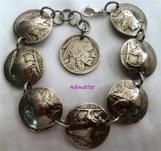 1935 Birthday Gift Buffalo Head Nickel Charm Bracelet Antique Coin Jewlery - $44.37