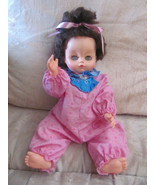 "VTG 1968 UNEEDA DOLL 18"" DARK HAIR BLUE EYES-DRINKS & WETS-PINK OUTFIT-E... - $3.50"