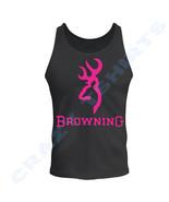 BLACK shirt PINK BROWNING Buckmark tee Tank Top Sleeveless  S to 2xL - $14.99