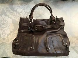 COLE HAAN Large Brown Textured Leather Belted Shoulder/Hand Bag $350 - $111.59