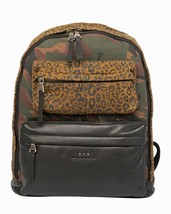 John Varvatos Star USA Men's Patchwork Backpack Zip Front Camo Leopard Leather - $225.72