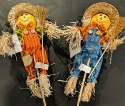"Harvest Scarecrow Pick with Bib Overalls 18"" Choose Either Blue, Orange ... - $6.00+"
