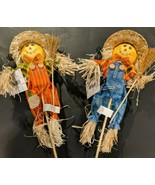 "Harvest Scarecrow Pick with Bib Overalls 18"" Choose Either Blue, Orange ... - $6.00+"