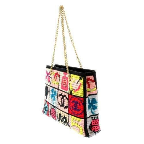 CHANEL Icon Chain Shoulder Bag Leather Knit Black Multi Color CC Logo Authentic image 2