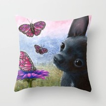 Throw Pillow Cushion case Made in USA Dog 91 Chihuahua butterfly art L.Dumas - $29.99+