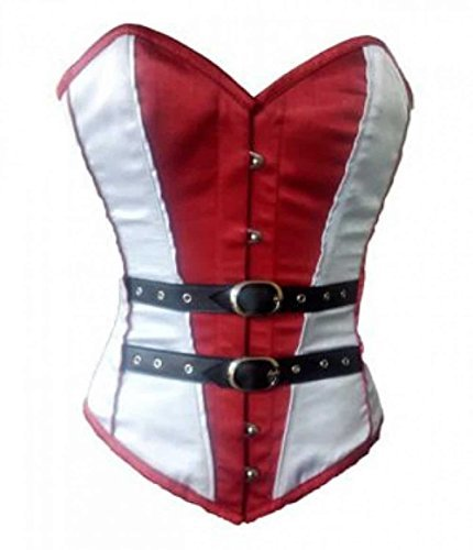 Primary image for CorsetAttire Red White Satin Black Leather Belts Overbust Corset Top
