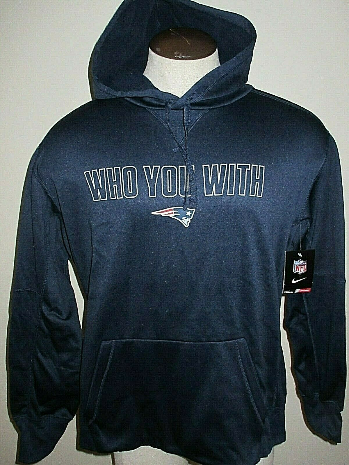 Gray NFL New England Patriots Mens Fleece Hoodie Pullover Sweatshirt Vintage Logo X-Large
