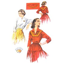 1950s Vintage McCall's Sewing Pattern 2167 Misses Pullover Blouse Embroi... - $12.95
