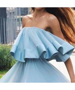Women Girls Summer  Falbala Off Shoulder Off Collar  Sleeveless  Straple... - $35.00