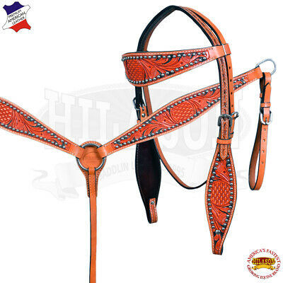 Primary image for Hilason Western American Leather Horse Headstall Breastcollar U--SET