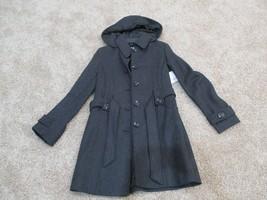 BNWT Liz Claiborne wool blend women's long coat w/ hood & belt, Size S, Charcoal - $84.15