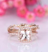 AAA Morganite & D/VVS1 Diamond Wedding Bridal Ring Set 14K Rose Gold Over Silver - $120.79