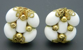 White Acrylic Bead Gold Tone Earrings Vintage Art Nouveau Styled - $13.86