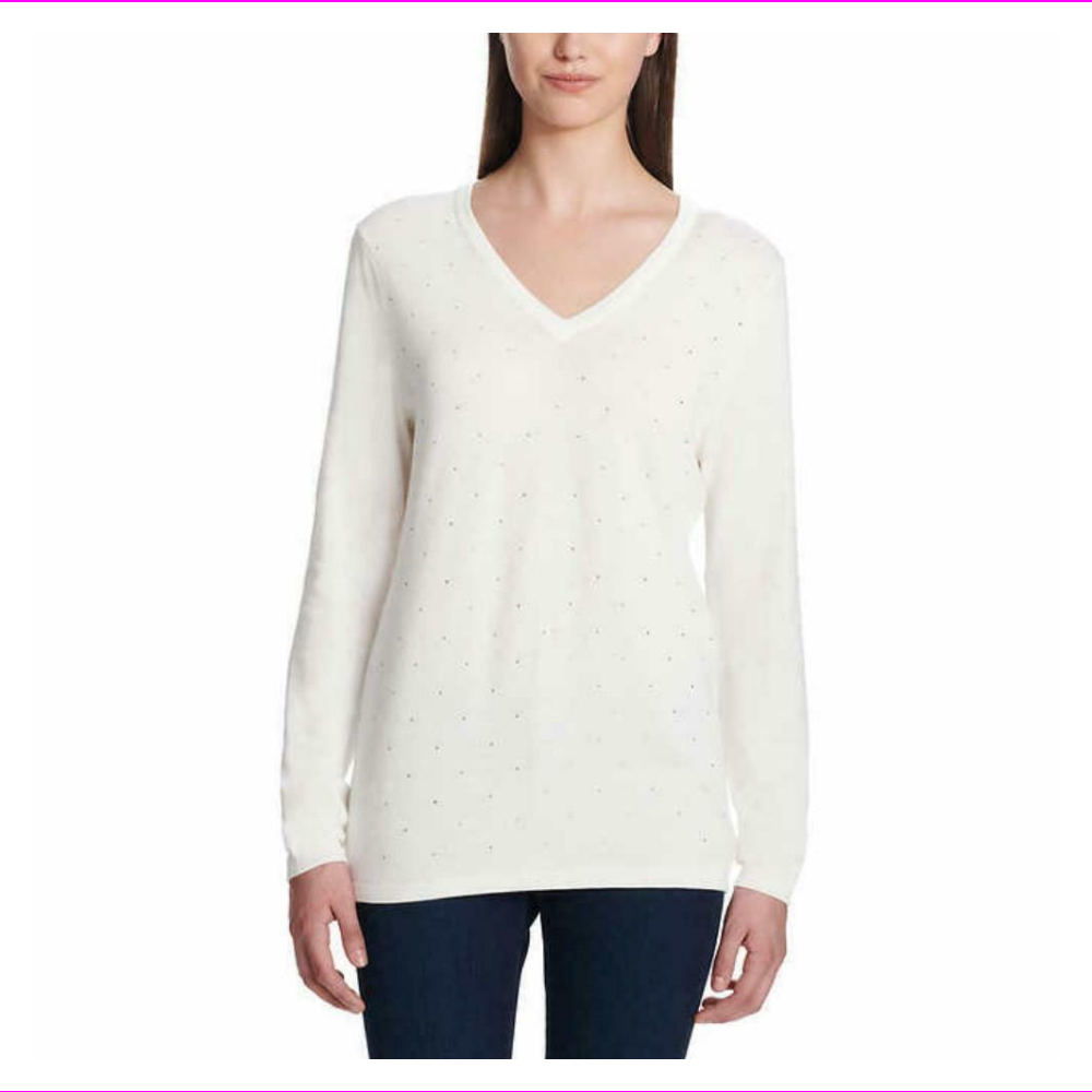 DKNY Jeans Women's Rhinestone Embellished V-Neck Sweater, Ivory, Large