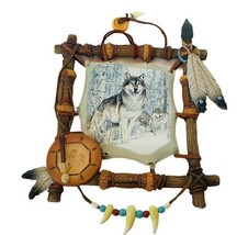 Bradford Exchange Tribal Watch Sacred Powers dreamcatcher wolf plate wall hang - $59.35