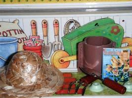 Garden Tools & Magazine Sun Hat for American Girl Miniature Plant Holder AG Mini - $14.84