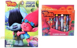 2-Pack (1) Trolls Coloring/Activity Book & (1) Box Of 12 Trolls Jumbo Cr... - $8.95