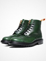 Handmade Men Green Leather Climber Military Style Wing Tip Brogues Toe Boots - $169.90 - $299.99