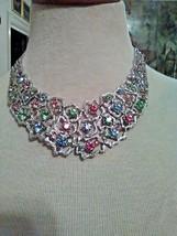 Vintage Necklace Silver Choker Faux Gems Pink Blue Green Rhinestones - $45.00