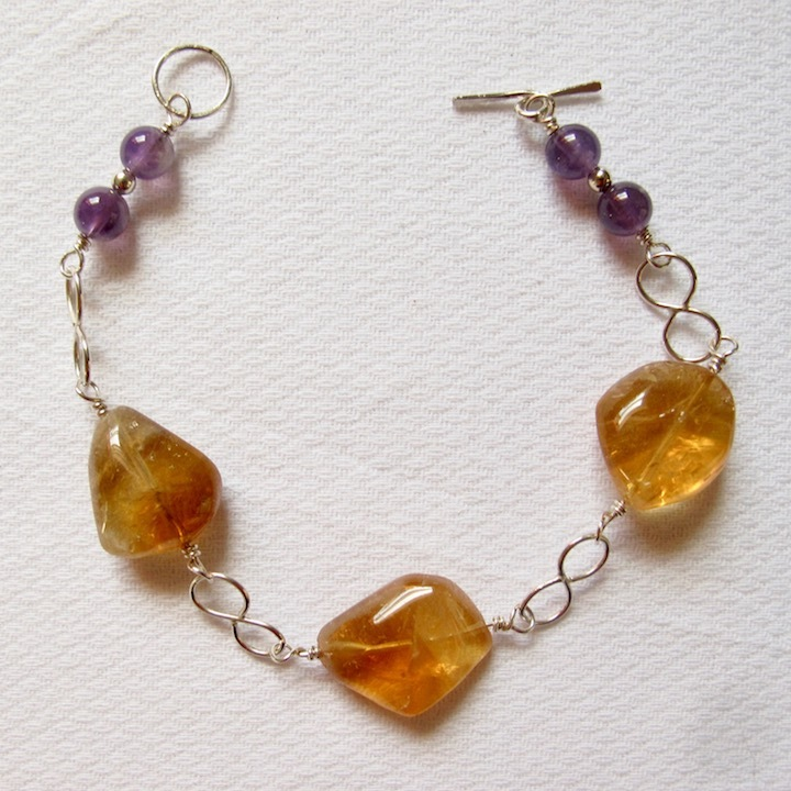 Sterling Silver Bracelet with Citrine Chunks, Amethyst Beads and Infinity Links