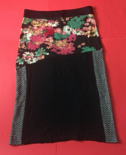 Unique Boho Floral Lightweight Sweater Skirt L XL Yarn Embroidered Multi Pattern
