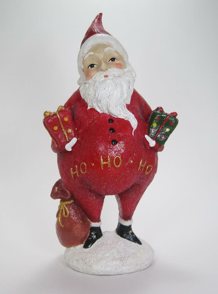 "Primary image for 12.5"" Tall Portly Santa Claus Figurine Holding Gifts & Bag Christmas Decor"