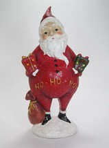 "12.5"" Tall Portly Santa Claus Figurine Holding Gifts & Bag Christmas Decor - $29.65"