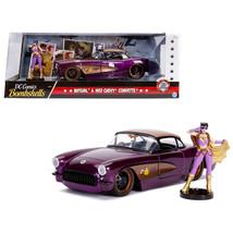 1957 Chevrolet Corvette Purple with Batgirl Diecast Figure DC Comics Bom... - $49.84