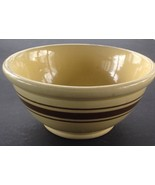 "Vintage Pottery Mixing Bowl, Yellow, Brown Stripes 9 1/2"" USA - $24.90"