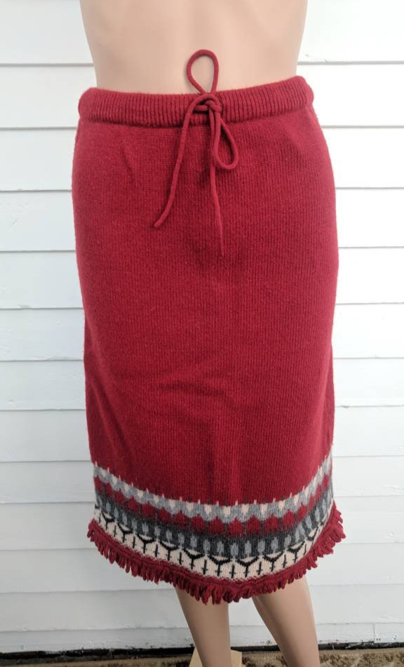 Primary image for Red Knit Fringe Skirt Vintage Sweater Skirt S