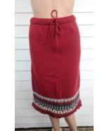 Red Knit Fringe Skirt Vintage Sweater Skirt S - $18.00