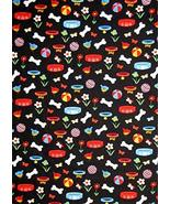 Puppy Dog Animal Bone Collar Black Cotton Fabric Daddy & Me by The Yard - $27.52