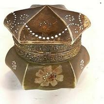 Vtg C.F. Monroe Nakara Victorian Covered Dresser Box Hand Painted Brown ... - $104.95