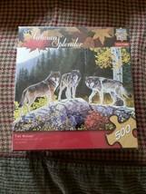 NEW SEALED Masterpieces 500 Piece Puzzle Autumn Splendor Wolf Wolves - $19.80