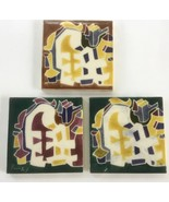 3 Vintage Warner Prins Ceramic Pottery Tiles Signed, Abstract Shapes - $37.90