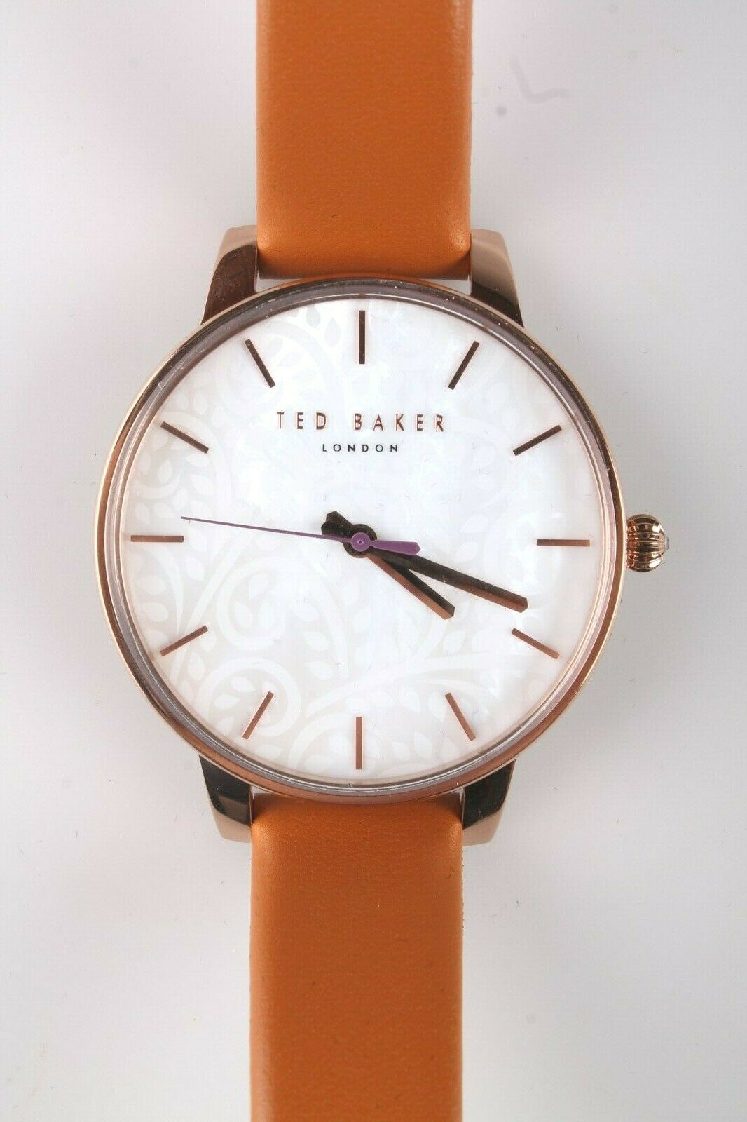 Ted Baker London TE50013007 Hellbraun Echtleder Band & Rose-Gold-Tone Uhr Nwt
