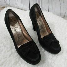 Sam Edelman Heels Womens 7.5 M Black Leather Suede With Tassles Round Toe - £13.79 GBP
