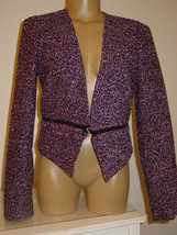 Calvin Klein Women's jacket blazer black purple tweed zippers accents-8 - $20.71