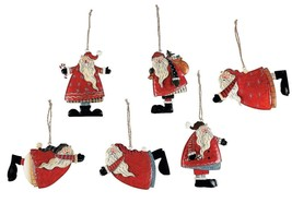 12 Painted Tin Santa Folk Decoration Christmas Tree Ornaments  (12 Pack)... - $19.94