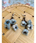 Blue flower dangle Earrings, Handmade flowers with wood beads and leathe... - $19.75