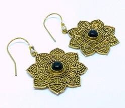Women Nickle Free Brass Dangle Earrings Onyx Gemstone Indian Ethnic Earr... - $12.34