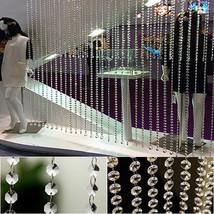 33ft/10m Clear Acrylic Crystal Beads Strand Window Door Wedding Garland Curtain - $11.61