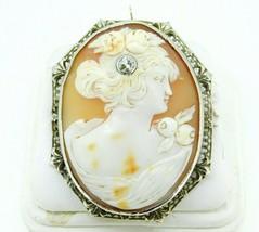 Art Deco 14k Gold Genuine Natural Shell Cameo and Diamond Filigree Pin (... - $450.00