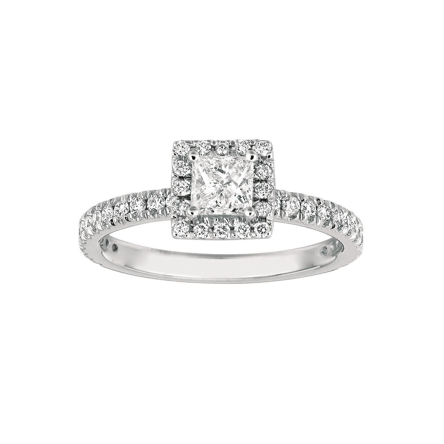 14k White Gold FN 925 Silver Solitaire W/ Side Accents Ring With Sim Diamond