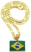 Brazil Flag Small Pendant Necklace With 24 Inch Long Figaro Chain Brasilia - $15.07