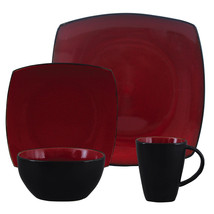 Soho Lounge 16 pc Dinnerware, Red Square Shape (Service for 4) - $59.59