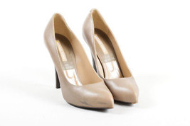 Michael Kors Gray Leather Pointed Toe High Wooden Heel Pumps SZ 40 - $70.00